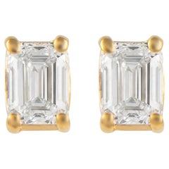 0.69 Carat Emerald Cut Diamond Stud Earrings Yellow Gold