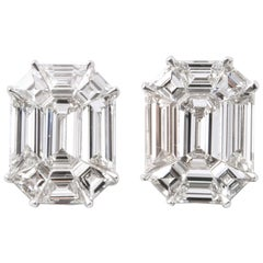 Emerald Cut Diamond Studs Illusion Set
