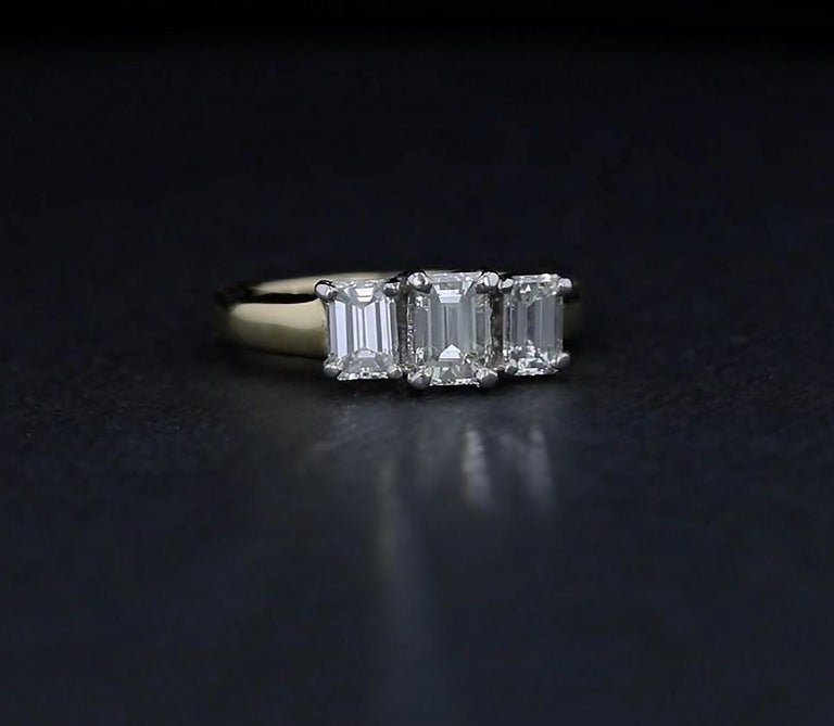 Women's Emerald Cut Diamond Three-Stone Engagement Ring