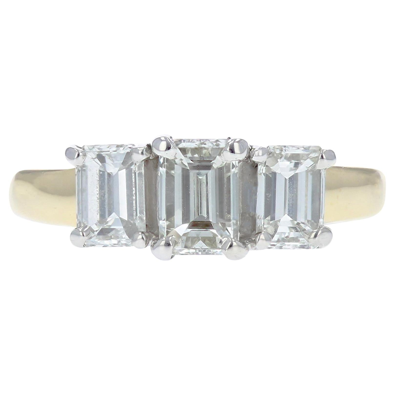 Emerald Cut Diamond Three-Stone Engagement Ring