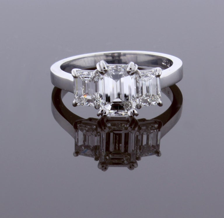 Emerald Cut Diamond Three-Stone Ring In New Condition For Sale In Bethesda, MD