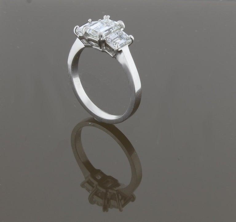 Women's or Men's Emerald Cut Diamond Three-Stone Ring For Sale