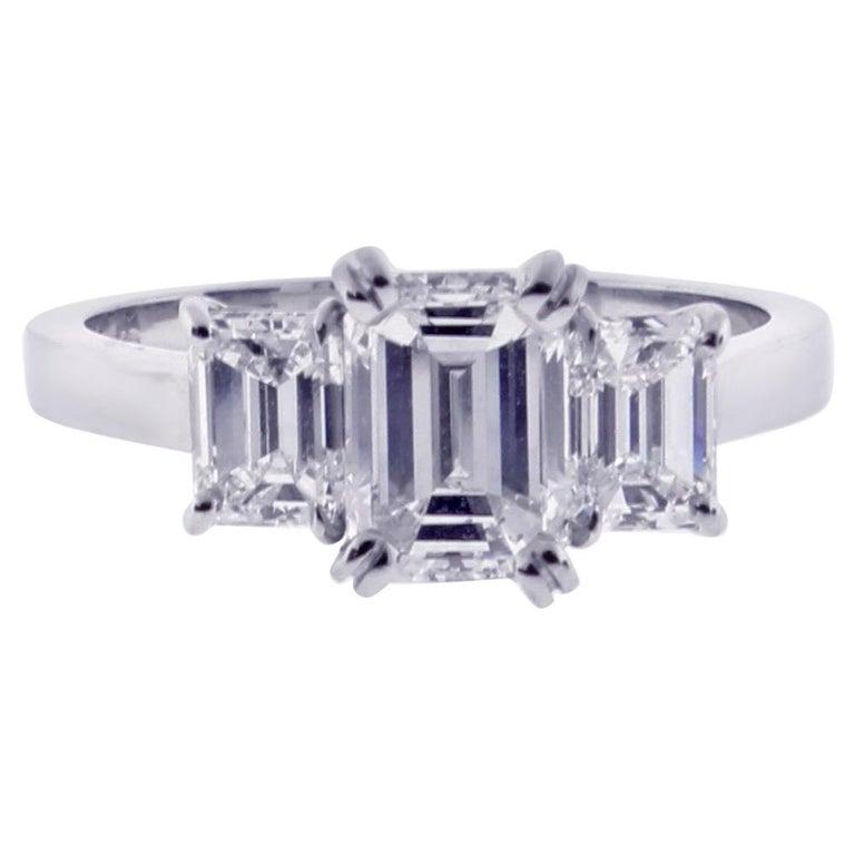 Emerald Cut Diamond Three-Stone Ring For Sale