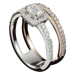 Emerald Cut Diamond Two Tone Ring
