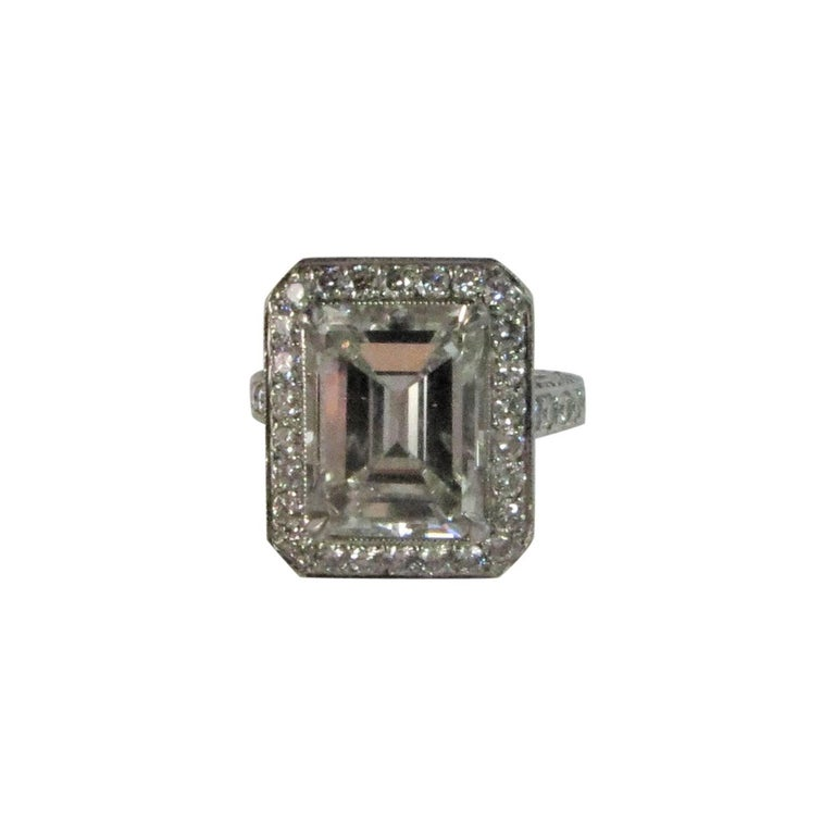 Emerald Cut Diamond Weighing 5.59ct, GIA , J Color, SI1 Clarity in Platinum