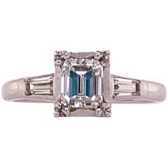 Emerald Cut Diamond White Gold Engagement Ring GIA Certified