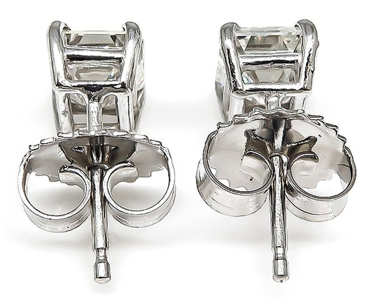 Emerald Cut Diamond White Gold Stud Earrings In Good Condition For Sale In New York, NY