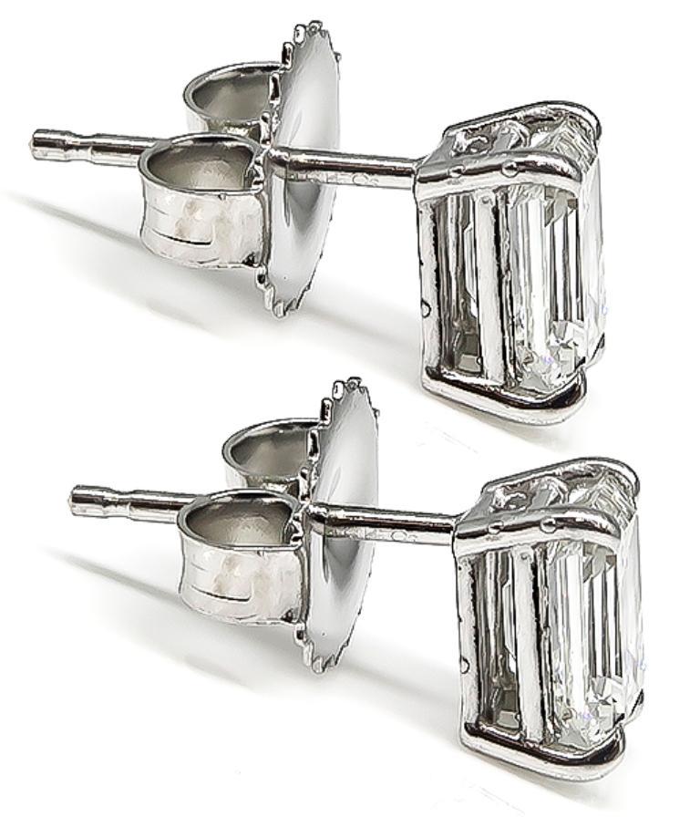 Women's or Men's Emerald Cut Diamond White Gold Stud Earrings For Sale