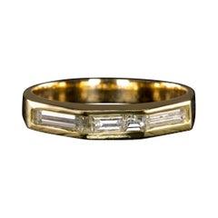 Emerald Cut Diamond Yellow Gold Band Ring