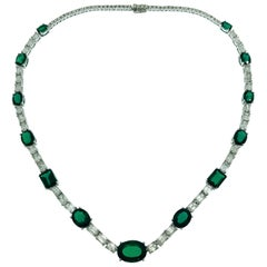 White Gold Emerald Cut Diamonds Synthetic Deep Vivid Green Emeralds Necklace
