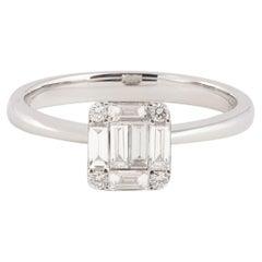 Emerald Cut Effect Diamonds 18 Carat White Gold Ring