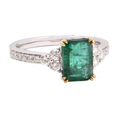 Emerald Cut Emerald 1.89 Carat Diamond 18 Carat White Gold Ring
