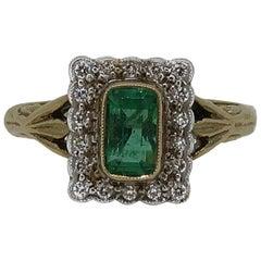 Emerald Cut Emerald and Diamond Art Deco Style Cluster Ring 9 Karat Gold