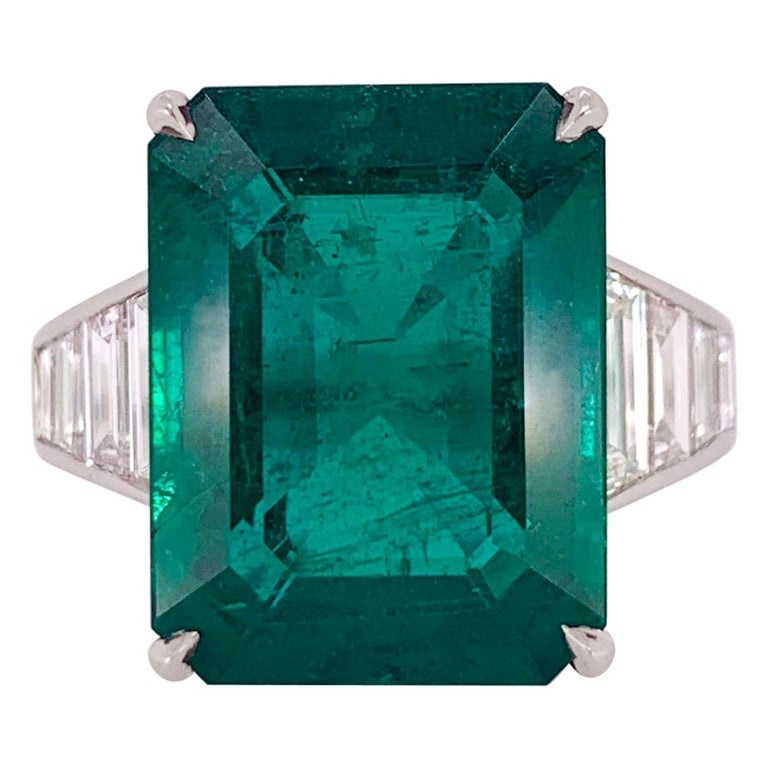 Emerald Cut Emerald and Diamond Ring For Sale