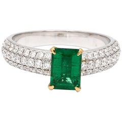 Emerald Cut Emerald Diamond 18 Karat White Gold Engagement Wedding Ring