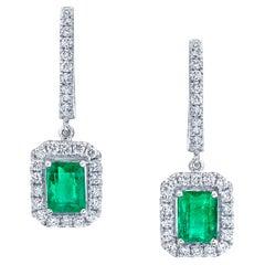 Emerald Cut Emerald & Diamond Halo White Gold Dangle Post Drop Dangle Earrings