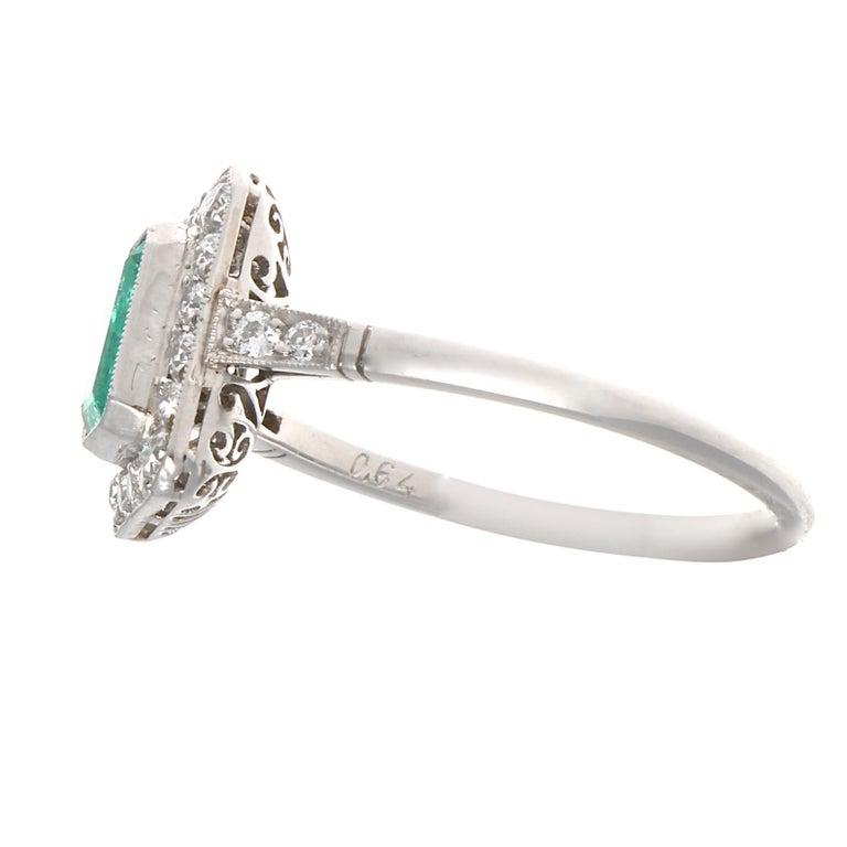 Art Deco Emerald Cut Emerald Diamond Platinum Ring For Sale