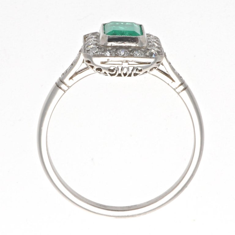 Round Cut Emerald Cut Emerald Diamond Platinum Ring For Sale
