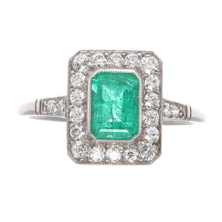 Emerald Cut Emerald Diamond Platinum Ring For Sale