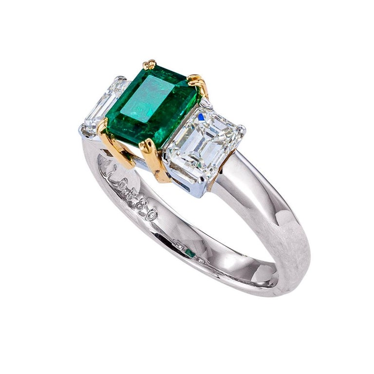 Emerald cut emerald diamond platinum and yellow gold ring circa 1990.  Love it because it caught your eye, and we are here to connect you with beautiful and affordable jewelry.  It is time to claim a special reward for Yourself!  Clear and concise