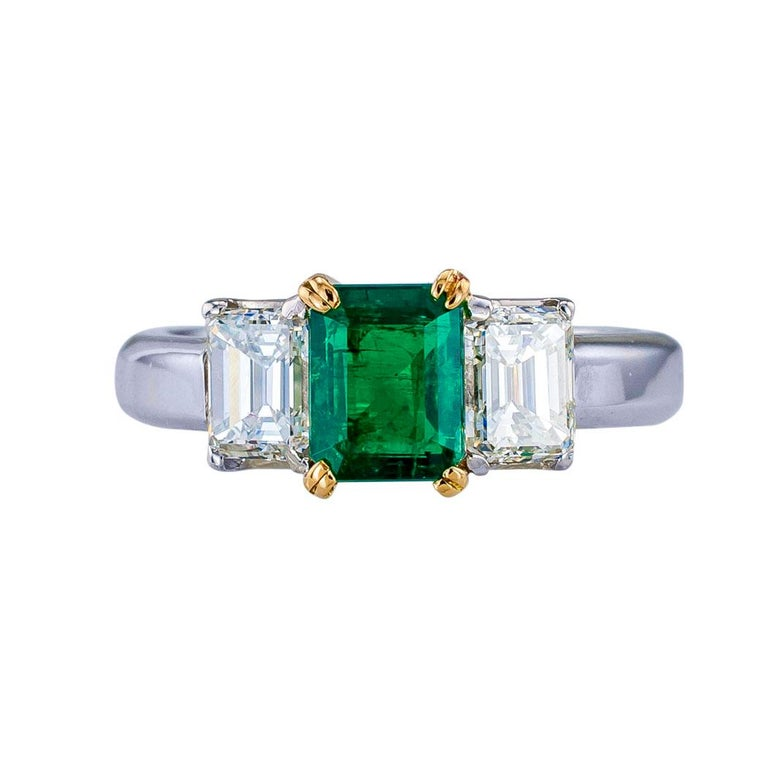 Contemporary Emerald Cut Emerald Diamond Platinum Yellow Gold Ring For Sale