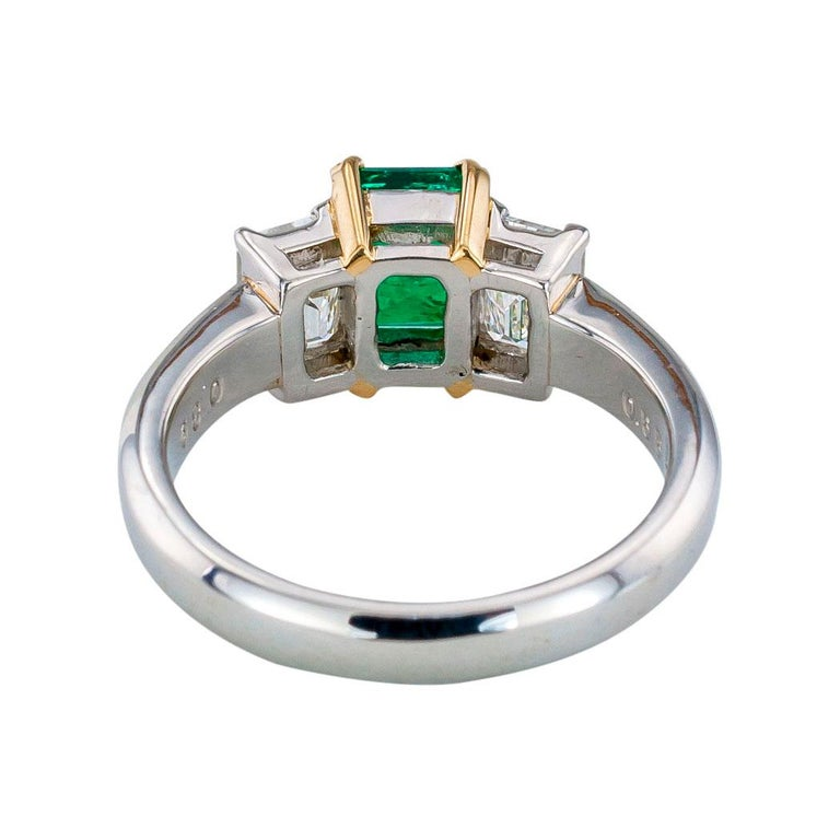 Women's Emerald Cut Emerald Diamond Platinum Yellow Gold Ring For Sale