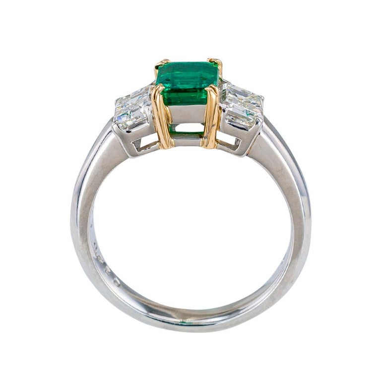 Emerald Cut Emerald Diamond Platinum Yellow Gold Ring For Sale 1