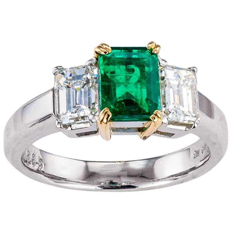 Emerald Cut Emerald Diamond Platinum Yellow Gold Ring For Sale