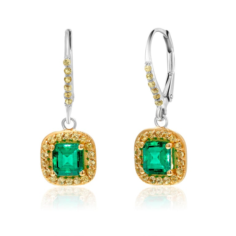 Emerald Cut Emerald Drop Hoop Earrings Weighing 1.85 Carat In New Condition In New York, NY