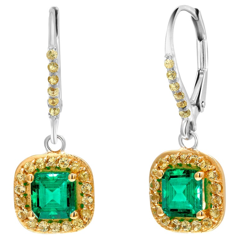 Emerald Cut Emerald Drop Hoop Earrings Weighing 1.85 Carat