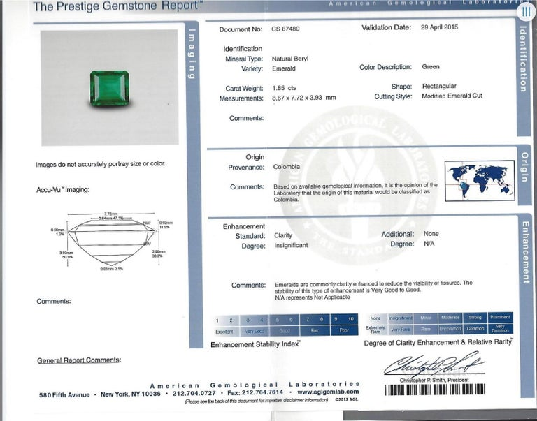 Colombian Emerald Ring Emerald Cut 1.85 Carats AGL Certified Insignificant Oil In New Condition For Sale In Beverly Hills, CA