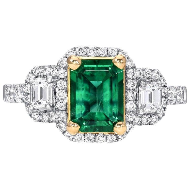 Emerald Ring 1.24 Carat Emerald Cut For Sale