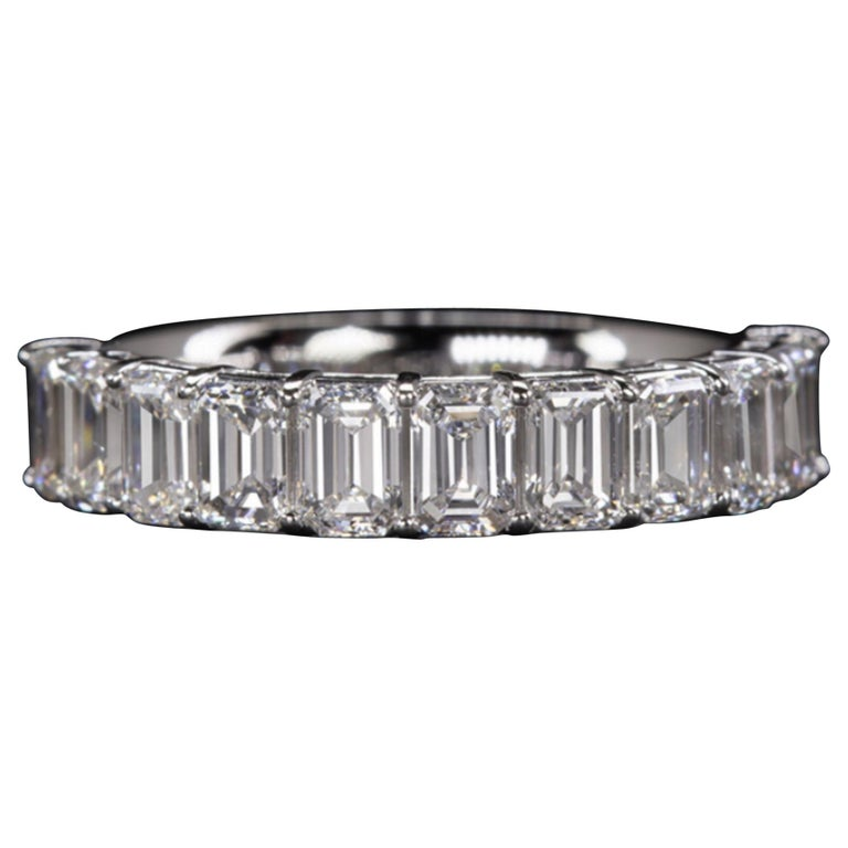 Emerald Cut Eternity Diamond Wedding Ring For Sale