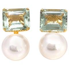 Emerald-cut Green Amethyst and Freshwater Pearl Earrings