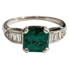 Emerald-Cut Green Emerald and Diamond Ring