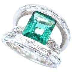 Emerald Cut Green Tourmaline 6.10 Carat Baguette Round Diamond Ring