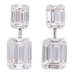 Emerald Cut Illusion Diamond Dangle Drop Earring