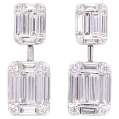 Emerald Cut Illusion Diamond Dangle Drop Earring
