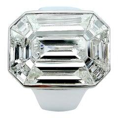 Emerald Cut Illusion Diamond Solitaire Ring in 18 Karat Gold