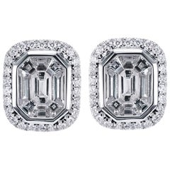 Emerald Cut Invisible Setting 2 Carat Outlook Each Head Turner Earring