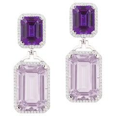 Goshwara Emerald Cut Lavender Amethyst and Amethyst With Diamond Earrings