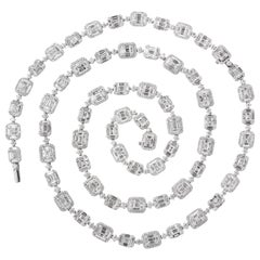 Emerald Cut Long Diamond Illusion Set Necklace and Bracelet Set