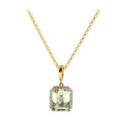Emerald Cut Mint Quartz and Diamond 9 Carat Yellow Gold Pendant with Chain