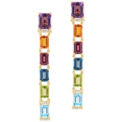 Emerald Cut Multi-Color Long Earrings