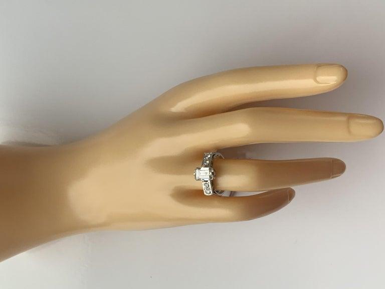 Art Deco Emerald Cut Natural Diamond Ring For Sale