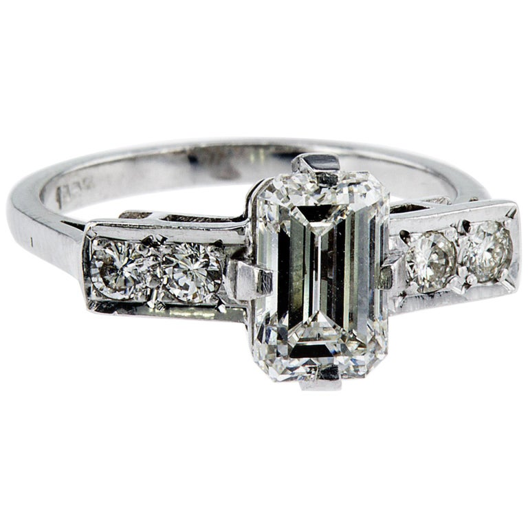 Emerald Cut Natural Diamond Ring For Sale