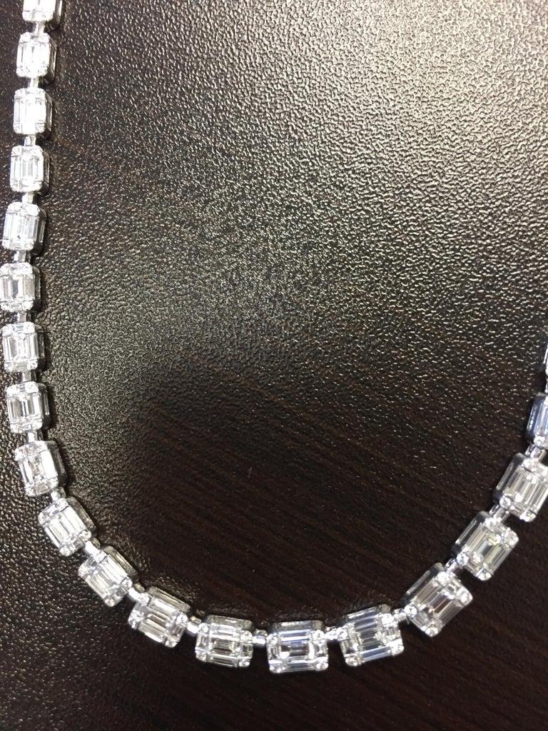 Baguette Cut Emerald Cut Necklace 18 Karat For Sale