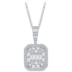 Emerald Cut Pendant 18K White Gold