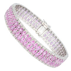 Emerald Cut Pink Sapphire and Diamond Bracelet 18 Karat White Gold