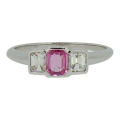 Emerald Cut Pink Sapphire and Diamond Three-Stone Ring 18 Karat White Gold